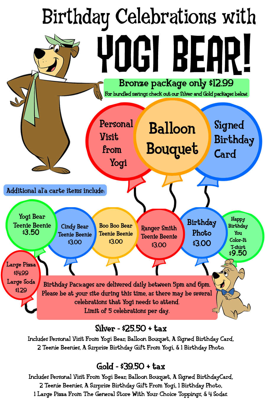 Birthday Packages available at Fremont Jellystone